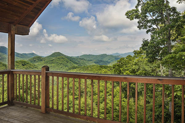 Upper deck at Cherokee Sunset with an awesome view of the Smoky Mountains.