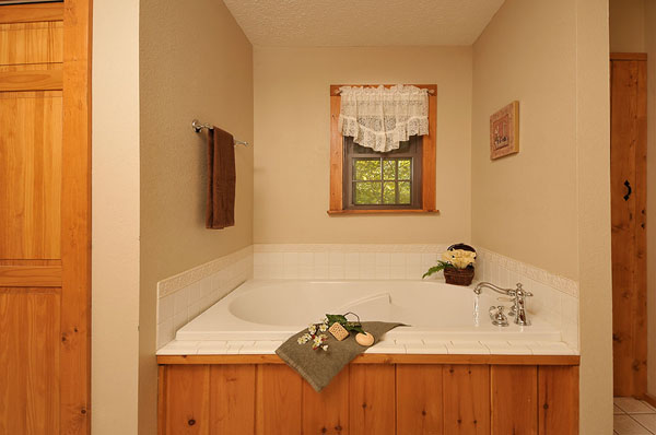 Serenity Now!! cabin - Large bathroom with shower, large bathtub and washer/dryer in the closet off of the Master Bedroom.