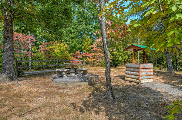 Serenity Now!! cabin - Very Large back yard bounded by woods. Very quaint and absolutely gorgeous in the Fall. A concrete picnic table and benches and